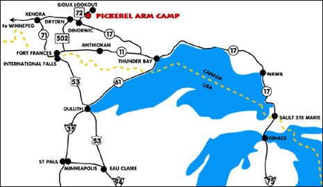 Directions to Pickerel Arm Camp Fishing and Hunting Lakeside Camps